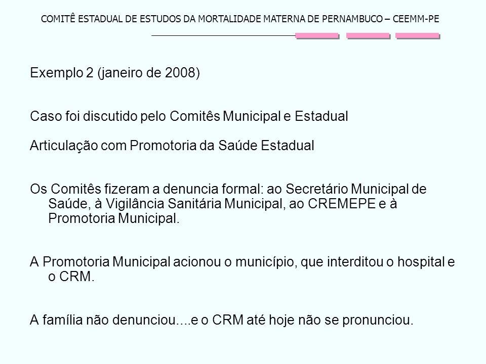 COMITÊ ESTADUAL DE ESTUDOS DA MORTALIDADE MATERNA DE PERNAMBUCO – CEEMM-PE Exemplo 2 (janeiro de 2008) Caso foi discutido pelo Comitês Municipal e Est