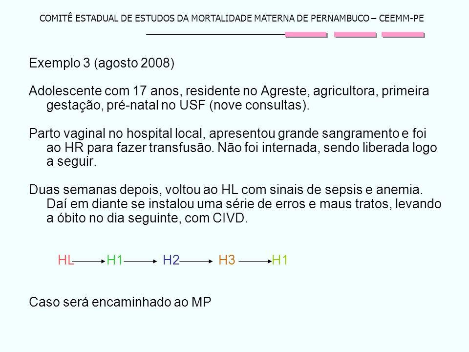 COMITÊ ESTADUAL DE ESTUDOS DA MORTALIDADE MATERNA DE PERNAMBUCO – CEEMM-PE Exemplo 3 (agosto 2008) Adolescente com 17 anos, residente no Agreste, agri