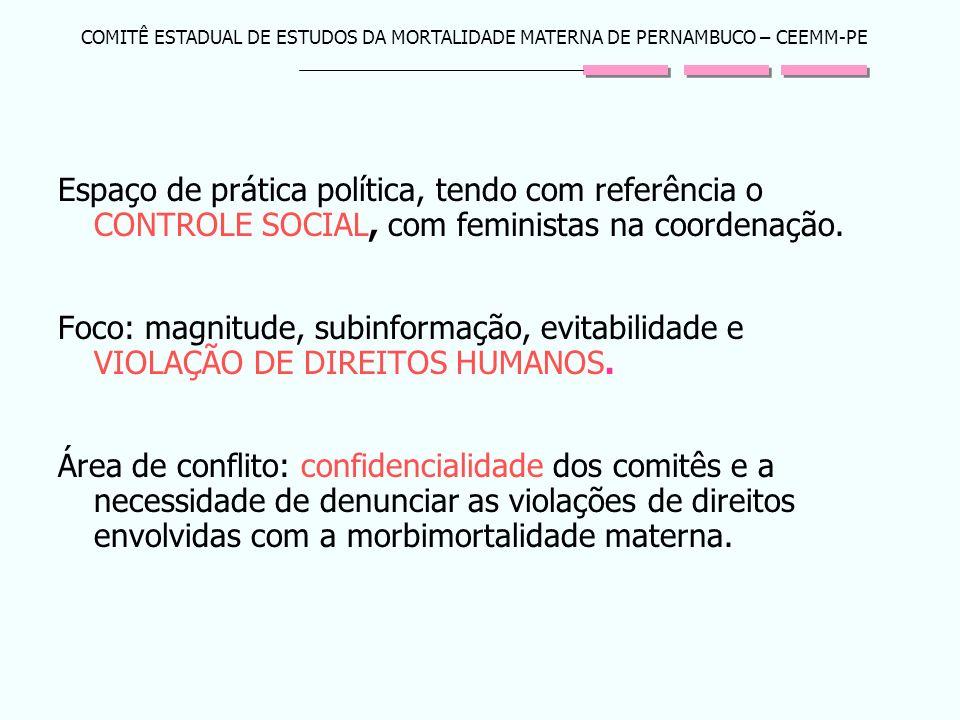 COMITÊ ESTADUAL DE ESTUDOS DA MORTALIDADE MATERNA DE PERNAMBUCO – CEEMM-PE Espaço de prática política, tendo com referência o CONTROLE SOCIAL, com fem