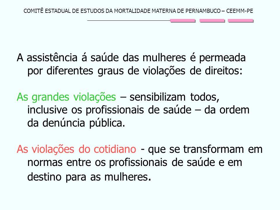 COMITÊ ESTADUAL DE ESTUDOS DA MORTALIDADE MATERNA DE PERNAMBUCO – CEEMM-PE A assistência á saúde das mulheres é permeada por diferentes graus de viola