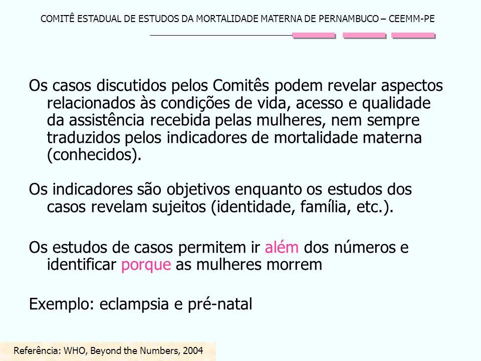 COMITÊ ESTADUAL DE ESTUDOS DA MORTALIDADE MATERNA DE PERNAMBUCO – CEEMM-PE Os casos discutidos pelos Comitês podem revelar aspectos relacionados às co