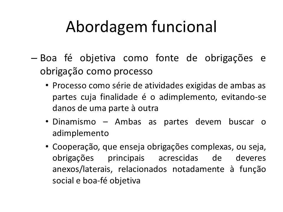 Abordagem funcional – Boa fé objetiva como fonte de obrigações e obrigação como processo Processo como série de atividades exigidas de ambas as partes