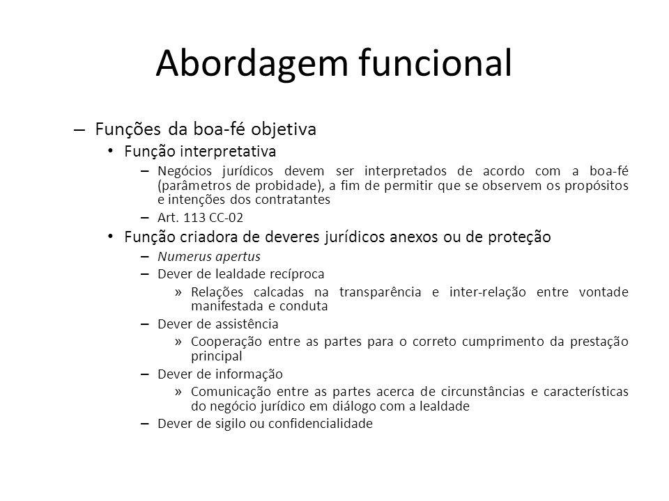 Abordagem funcional – Funções da boa-fé objetiva Função interpretativa – Negócios jurídicos devem ser interpretados de acordo com a boa-fé (parâmetros
