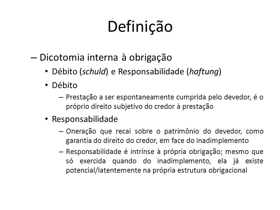 Definição – Dicotomia interna à obrigação Débito (schuld) e Responsabilidade (haftung) Débito – Prestação a ser espontaneamente cumprida pelo devedor,