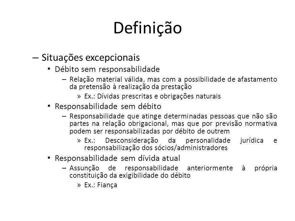 Definição – Situações excepcionais Débito sem responsabilidade – Relação material válida, mas com a possibilidade de afastamento da pretensão à realiz