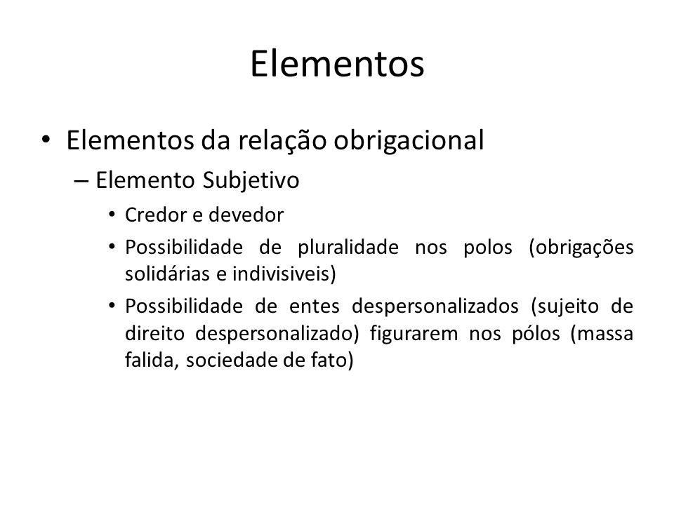 Elementos Elementos da relação obrigacional – Elemento Subjetivo Credor e devedor Possibilidade de pluralidade nos polos (obrigações solidárias e indi