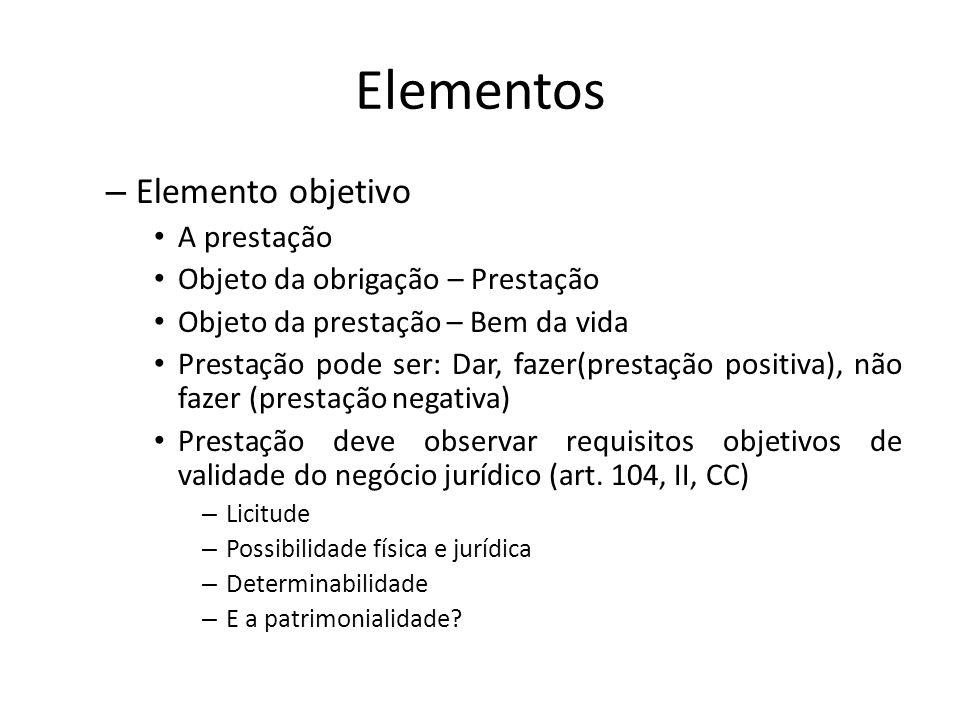 Elementos – Elemento objetivo A prestação Objeto da obrigação – Prestação Objeto da prestação – Bem da vida Prestação pode ser: Dar, fazer(prestação p