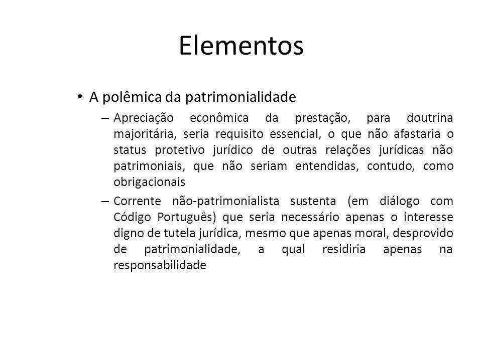 Elementos A polêmica da patrimonialidade – Apreciação econômica da prestação, para doutrina majoritária, seria requisito essencial, o que não afastari