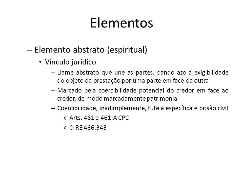 Elementos – Elemento abstrato (espiritual) Vínculo jurídico – Liame abstrato que une as partes, dando azo à exigibilidade do objeto da prestação por u