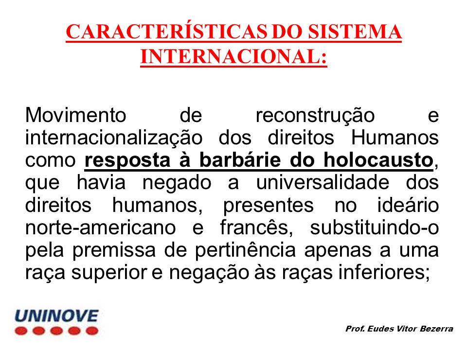 CARACTERÍSTICAS DO SISTEMA INTERNACIONAL: Movimento de reconstrução e internacionalização dos direitos Humanos como resposta à barbárie do holocausto,