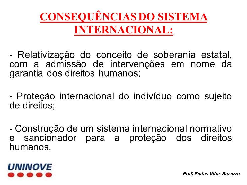 CONSEQUÊNCIAS DO SISTEMA INTERNACIONAL: - Relativização do conceito de soberania estatal, com a admissão de intervenções em nome da garantia dos direitos humanos; - Proteção internacional do indivíduo como sujeito de direitos; - Construção de um sistema internacional normativo e sancionador para a proteção dos direitos humanos.