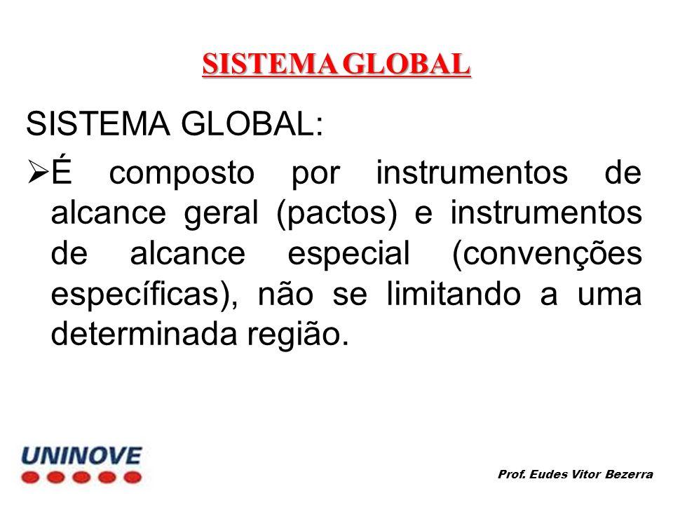 SISTEMA GLOBAL SISTEMA GLOBAL: É composto por instrumentos de alcance geral (pactos) e instrumentos de alcance especial (convenções específicas), não