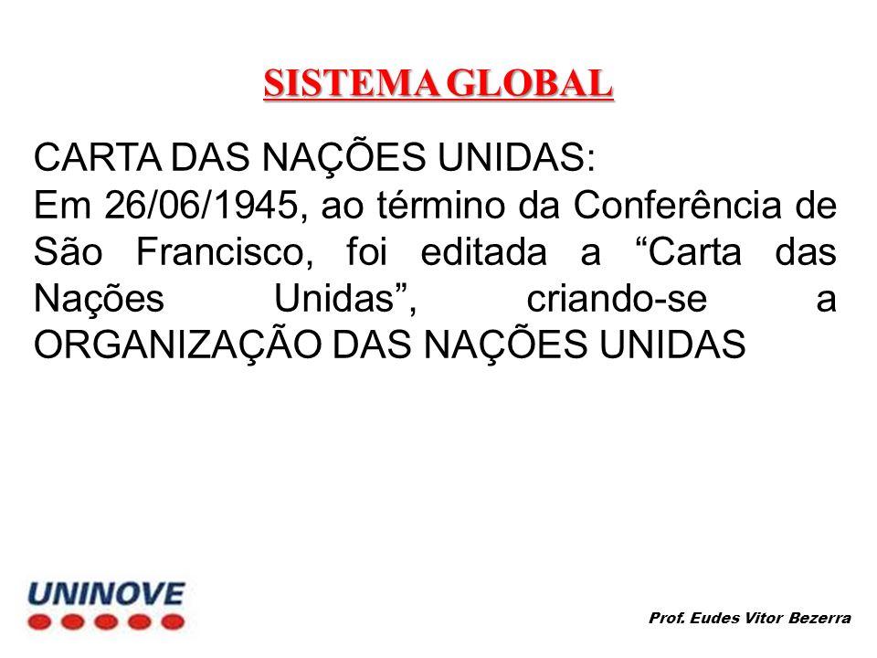 SISTEMA GLOBAL CARTA DAS NAÇÕES UNIDAS: Em 26/06/1945, ao término da Conferência de São Francisco, foi editada a Carta das Nações Unidas, criando-se a ORGANIZAÇÃO DAS NAÇÕES UNIDAS Prof.