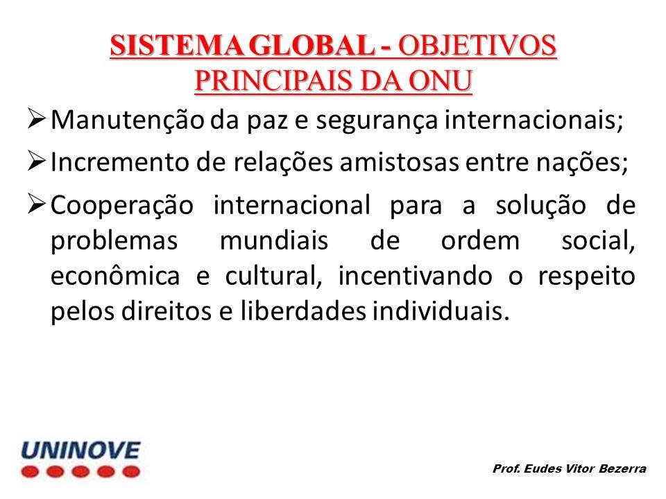 SISTEMA GLOBAL - OBJETIVOS PRINCIPAIS DA ONU Manutenção da paz e segurança internacionais; Incremento de relações amistosas entre nações; Cooperação internacional para a solução de problemas mundiais de ordem social, econômica e cultural, incentivando o respeito pelos direitos e liberdades individuais.