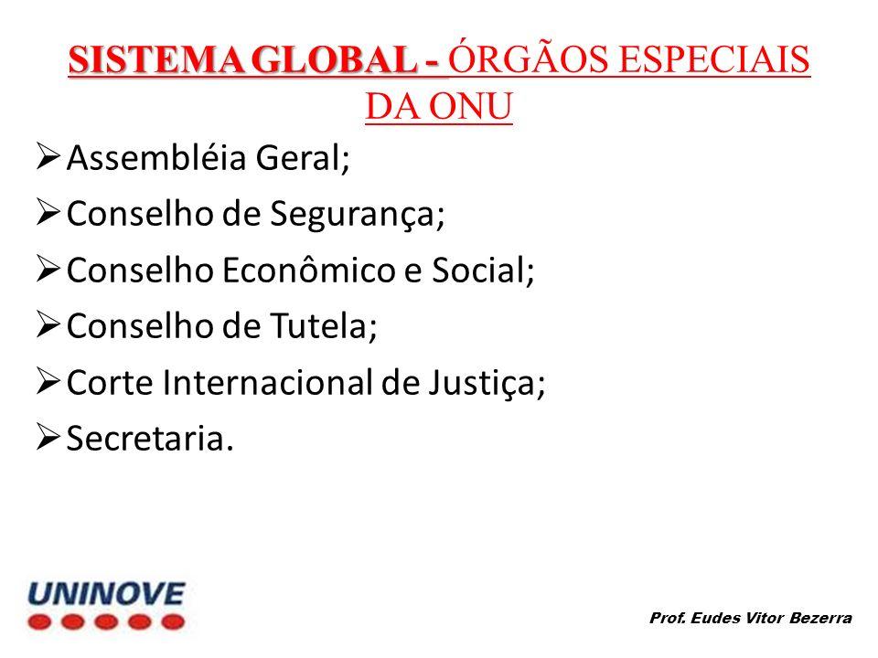SISTEMA GLOBAL - SISTEMA GLOBAL - ÓRGÃOS ESPECIAIS DA ONU Assembléia Geral; Conselho de Segurança; Conselho Econômico e Social; Conselho de Tutela; Corte Internacional de Justiça; Secretaria.