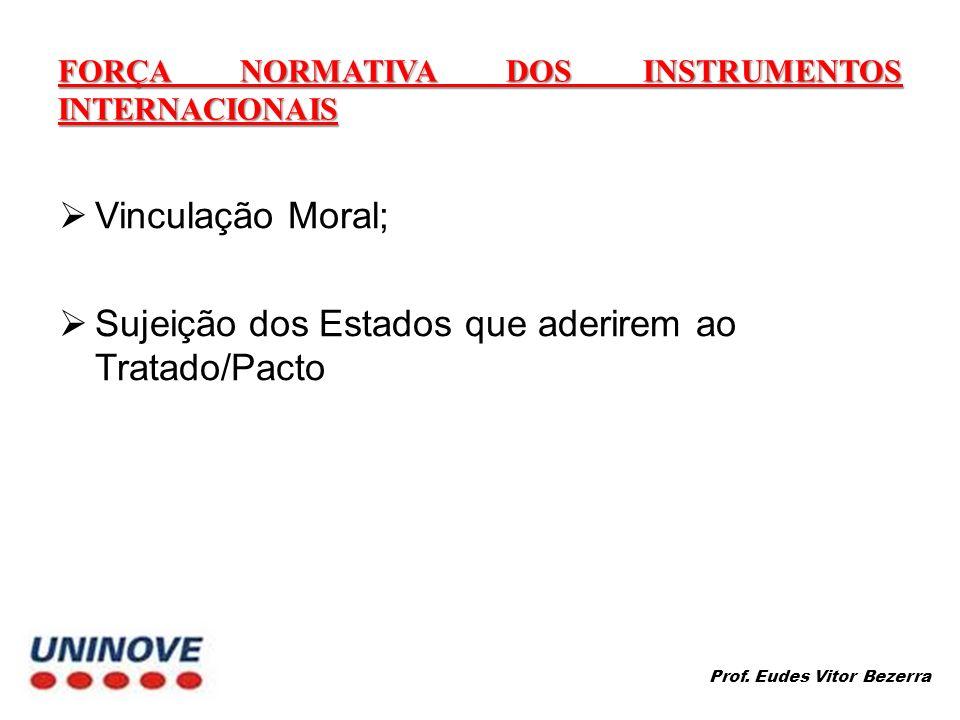 FORÇA NORMATIVA DOS INSTRUMENTOS INTERNACIONAIS Vinculação Moral; Sujeição dos Estados que aderirem ao Tratado/Pacto Prof. Eudes Vitor Bezerra