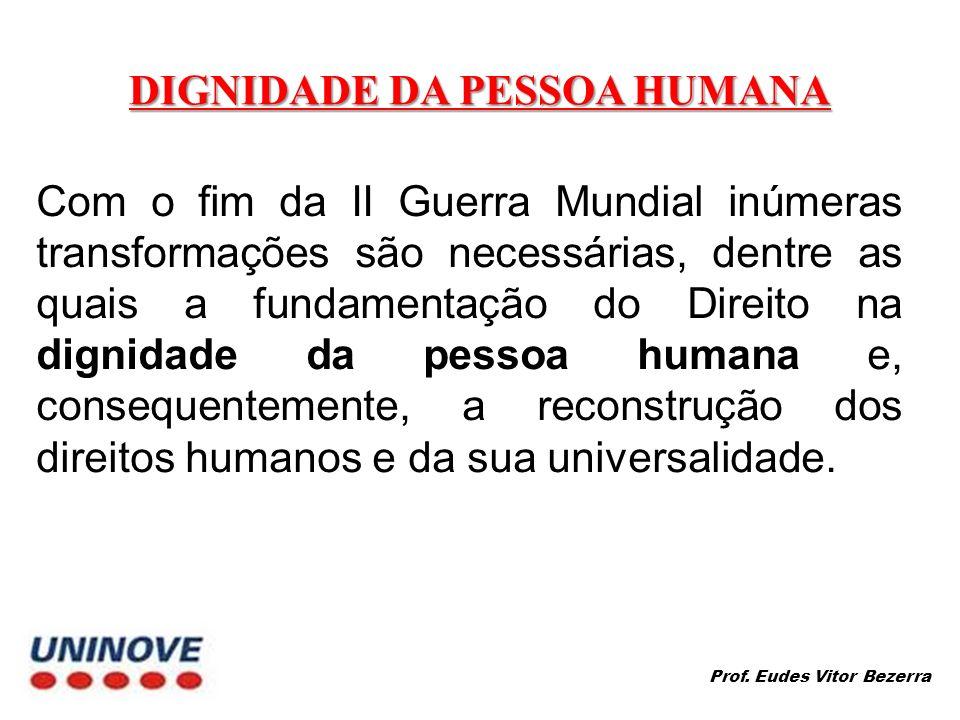 DIGNIDADE DA PESSOA HUMANA Com o fim da II Guerra Mundial inúmeras transformações são necessárias, dentre as quais a fundamentação do Direito na dignidade da pessoa humana e, consequentemente, a reconstrução dos direitos humanos e da sua universalidade.