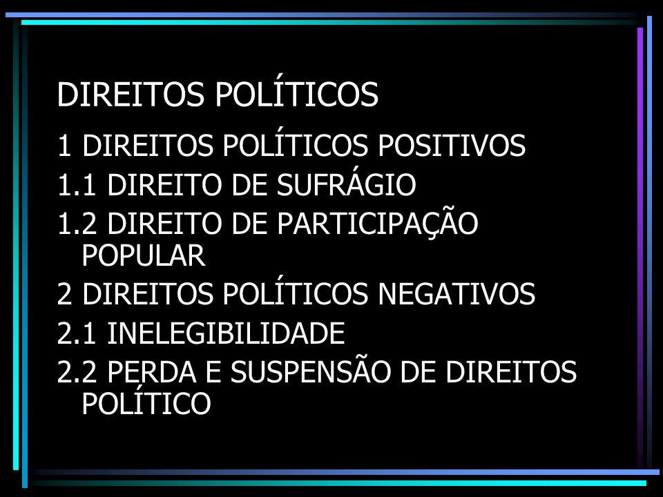 DIREITOS POLÍTICOS 1 DIREITOS POLÍTICOS POSITIVOS 1.1 DIREITO DE SUFRÁGIO 1.2 DIREITO DE PARTICIPAÇÃO POPULAR 2 DIREITOS POLÍTICOS NEGATIVOS 2.1 INELE