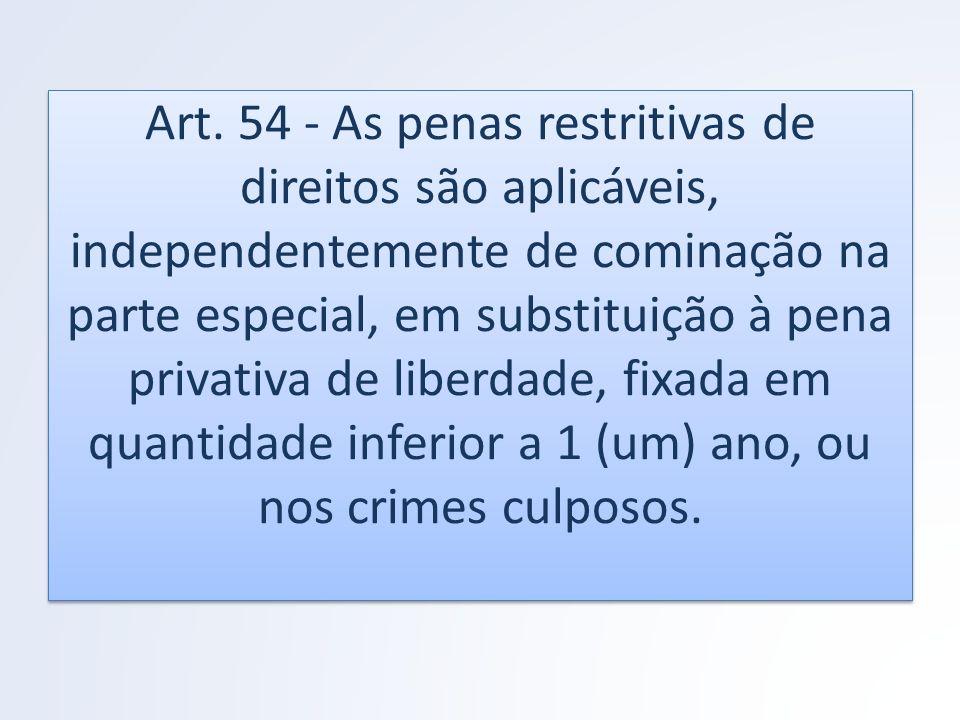 Art. 54 - As penas restritivas de direitos são aplicáveis, independentemente de cominação na parte especial, em substituição à pena privativa de liber