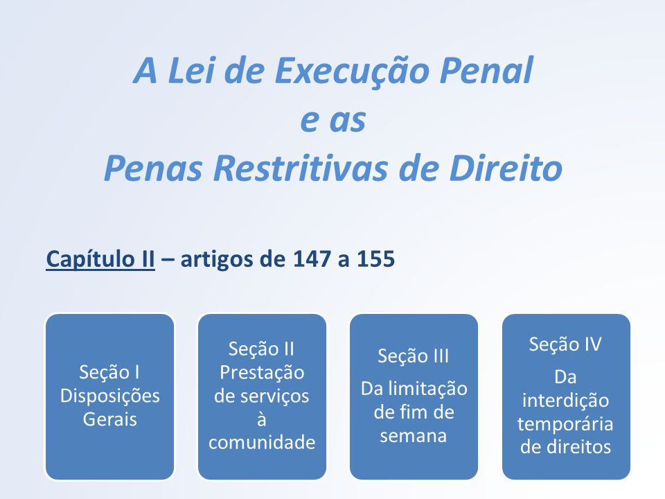 A Lei de Execução Penal e as Penas Restritivas de Direito Capítulo II – artigos de 147 a 155 Seção I Disposições Gerais Seção II Prestação de serviços