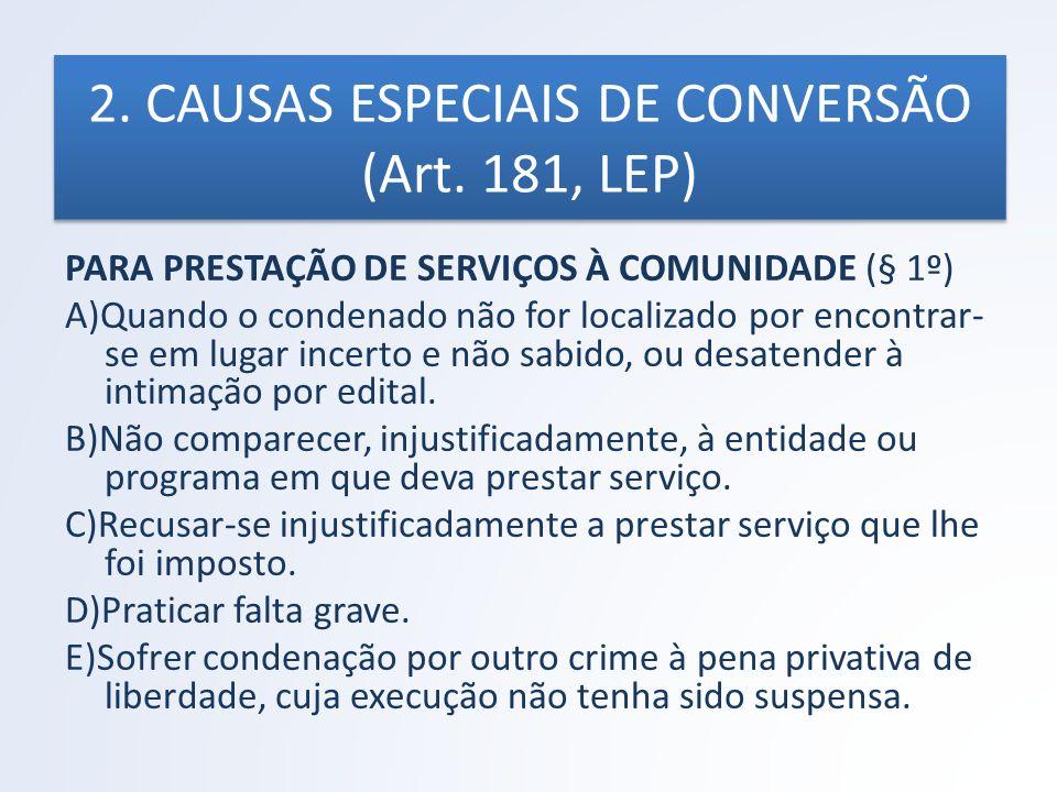 2. CAUSAS ESPECIAIS DE CONVERSÃO (Art. 181, LEP) PARA PRESTAÇÃO DE SERVIÇOS À COMUNIDADE (§ 1º) A)Quando o condenado não for localizado por encontrar-