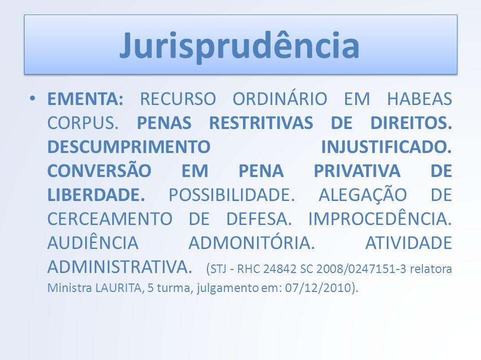 Jurisprudência EMENTA: RECURSO ORDINÁRIO EM HABEAS CORPUS. PENAS RESTRITIVAS DE DIREITOS. DESCUMPRIMENTO INJUSTIFICADO. CONVERSÃO EM PENA PRIVATIVA DE
