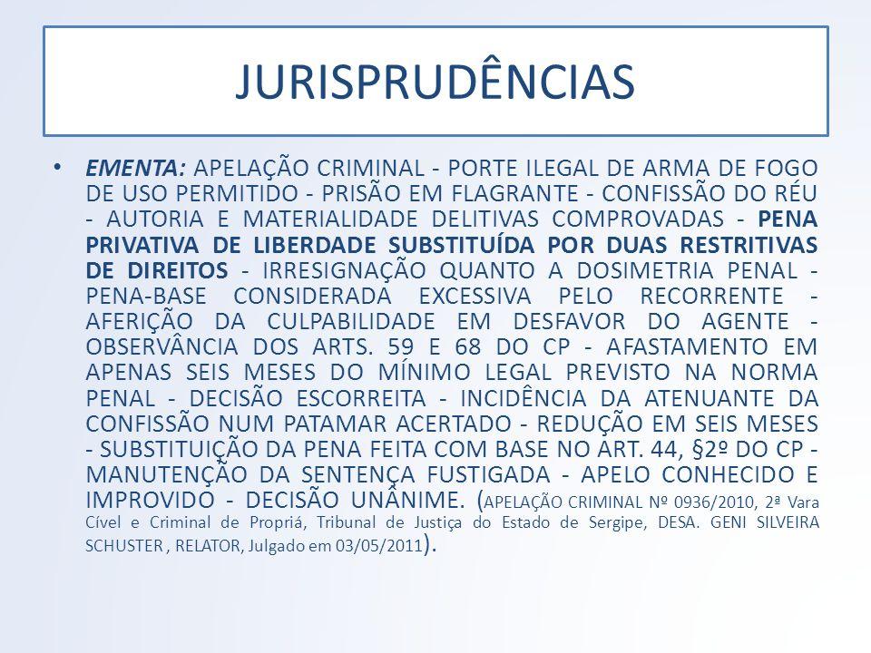 JURISPRUDÊNCIAS EMENTA: APELAÇÃO CRIMINAL - PORTE ILEGAL DE ARMA DE FOGO DE USO PERMITIDO - PRISÃO EM FLAGRANTE - CONFISSÃO DO RÉU - AUTORIA E MATERIA