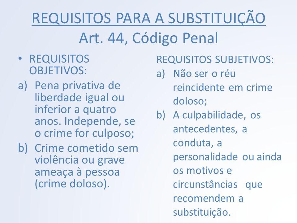 REQUISITOS PARA A SUBSTITUIÇÃO Art. 44, Código Penal REQUISITOS OBJETIVOS: a)Pena privativa de liberdade igual ou inferior a quatro anos. Independe, s