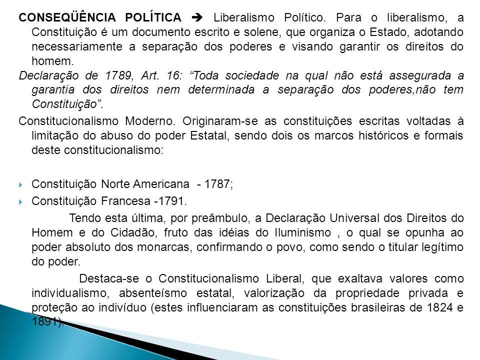 CONSEQÜÊNCIA POLÍTICA Liberalismo Político. Para o liberalismo, a Constituição é um documento escrito e solene, que organiza o Estado, adotando necess