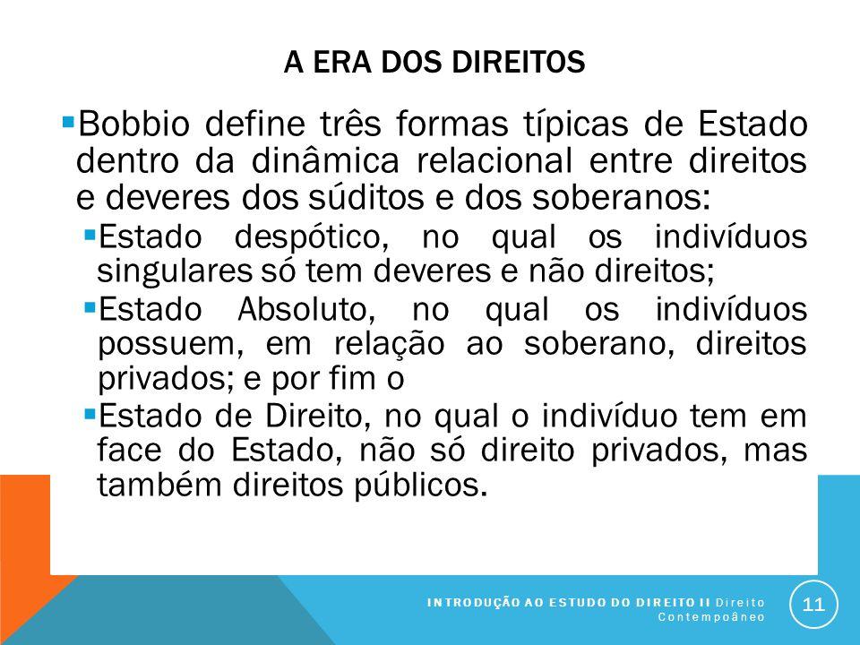 A ERA DOS DIREITOS Bobbio define três formas típicas de Estado dentro da dinâmica relacional entre direitos e deveres dos súditos e dos soberanos: Est