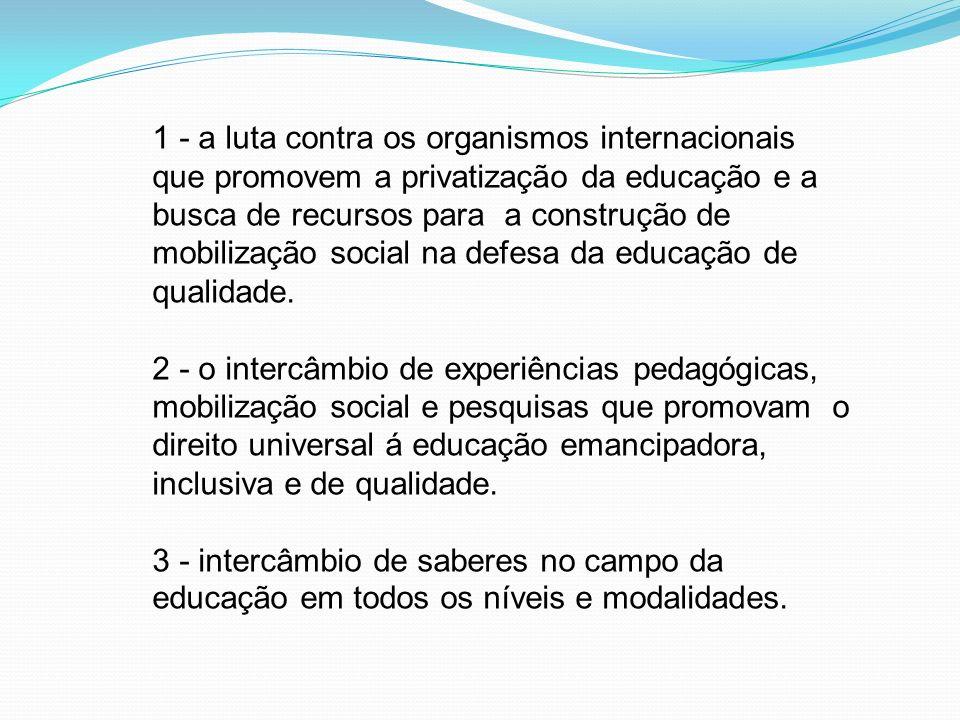 1 - a luta contra os organismos internacionais que promovem a privatização da educação e a busca de recursos para a construção de mobilização social n