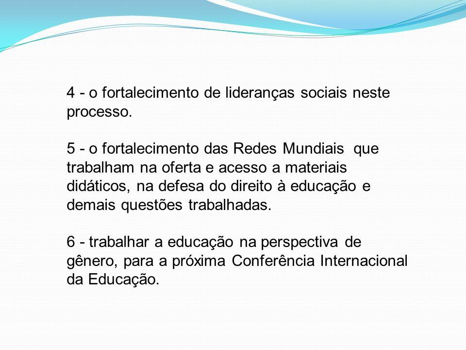 4 - o fortalecimento de lideranças sociais neste processo. 5 - o fortalecimento das Redes Mundiais que trabalham na oferta e acesso a materiais didáti