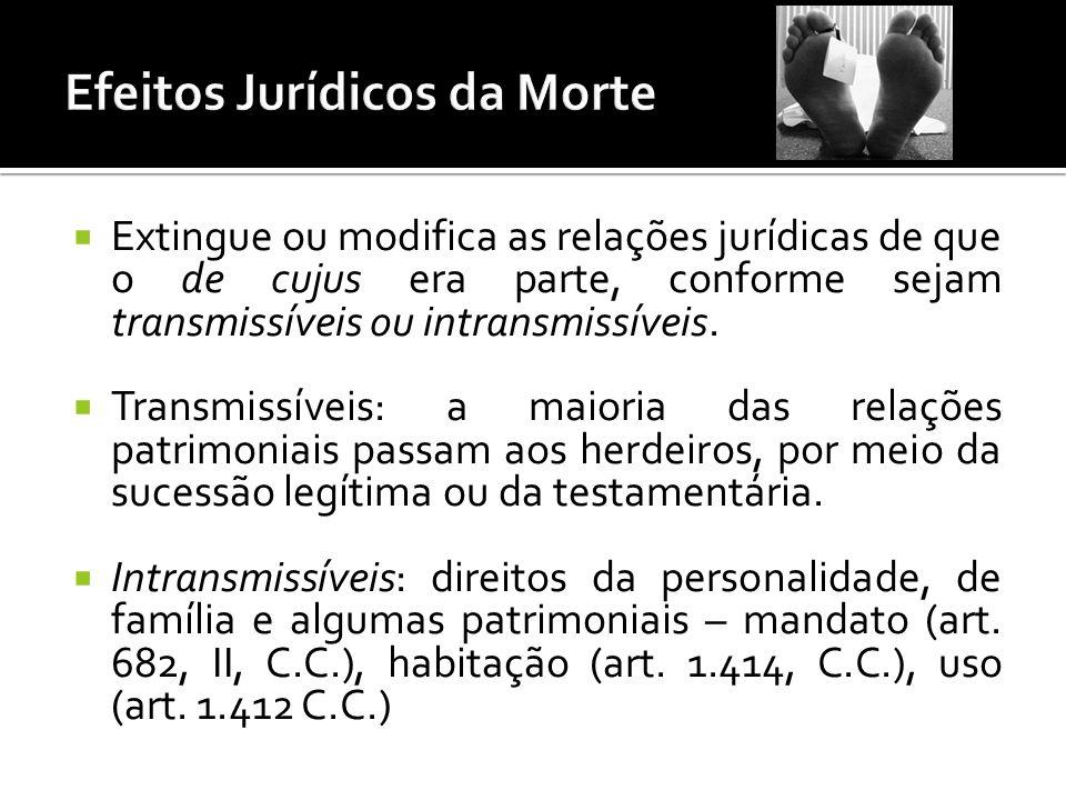 Extingue ou modifica as relações jurídicas de que o de cujus era parte, conforme sejam transmissíveis ou intransmissíveis.