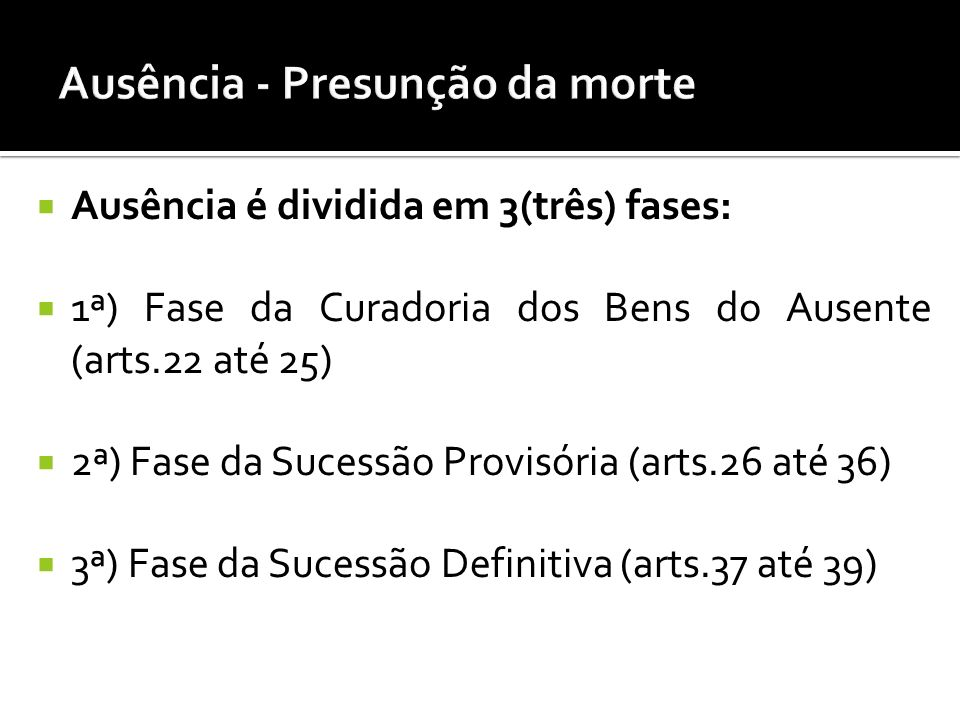 Ausência é dividida em 3(três) fases: 1ª) Fase da Curadoria dos Bens do Ausente (arts.22 até 25) 2ª) Fase da Sucessão Provisória (arts.26 até 36) 3ª) Fase da Sucessão Definitiva (arts.37 até 39)