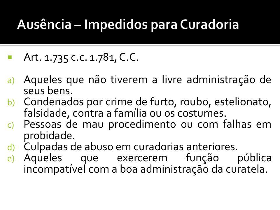 Art. 1.735 c.c. 1.781, C.C. a) Aqueles que não tiverem a livre administração de seus bens. b) Condenados por crime de furto, roubo, estelionato, falsi
