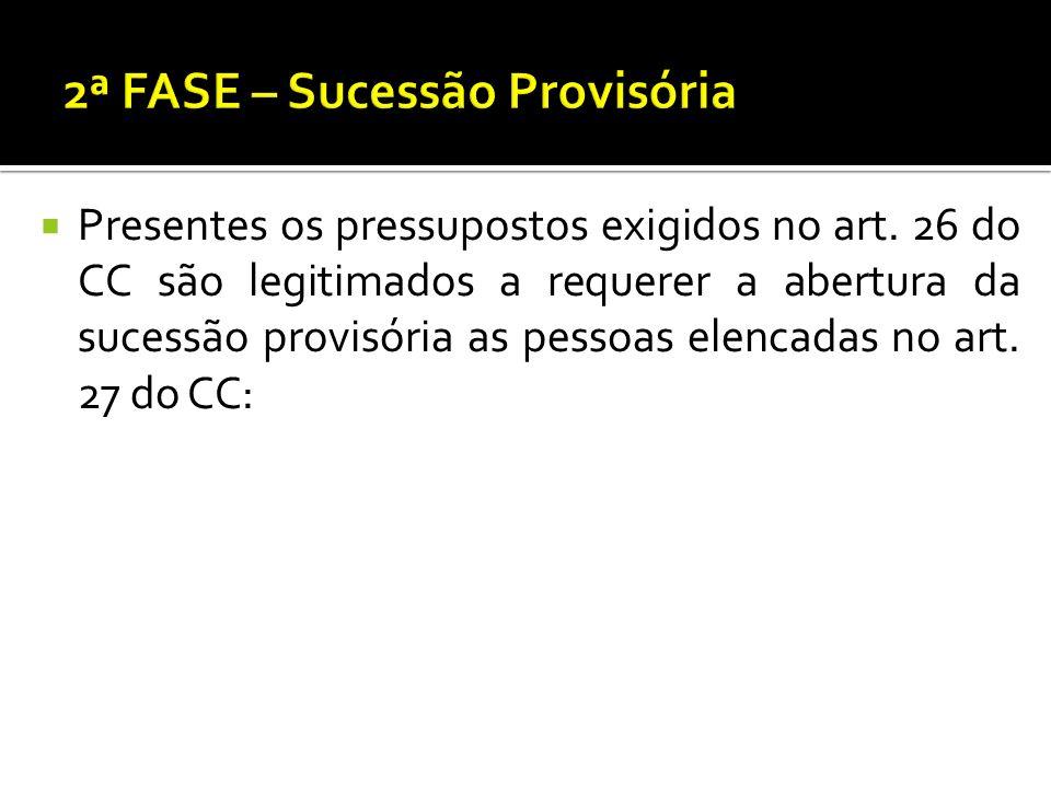 Presentes os pressupostos exigidos no art. 26 do CC são legitimados a requerer a abertura da sucessão provisória as pessoas elencadas no art. 27 do CC