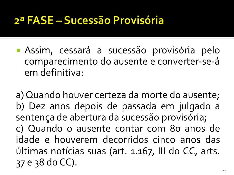 Assim, cessará a sucessão provisória pelo comparecimento do ausente e converter-se-á em definitiva: a) Quando houver certeza da morte do ausente; b) D