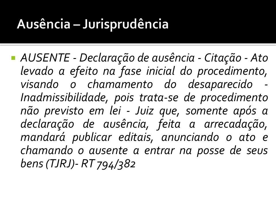 AUSENTE - Declaração de ausência - Citação - Ato levado a efeito na fase inicial do procedimento, visando o chamamento do desaparecido - Inadmissibili