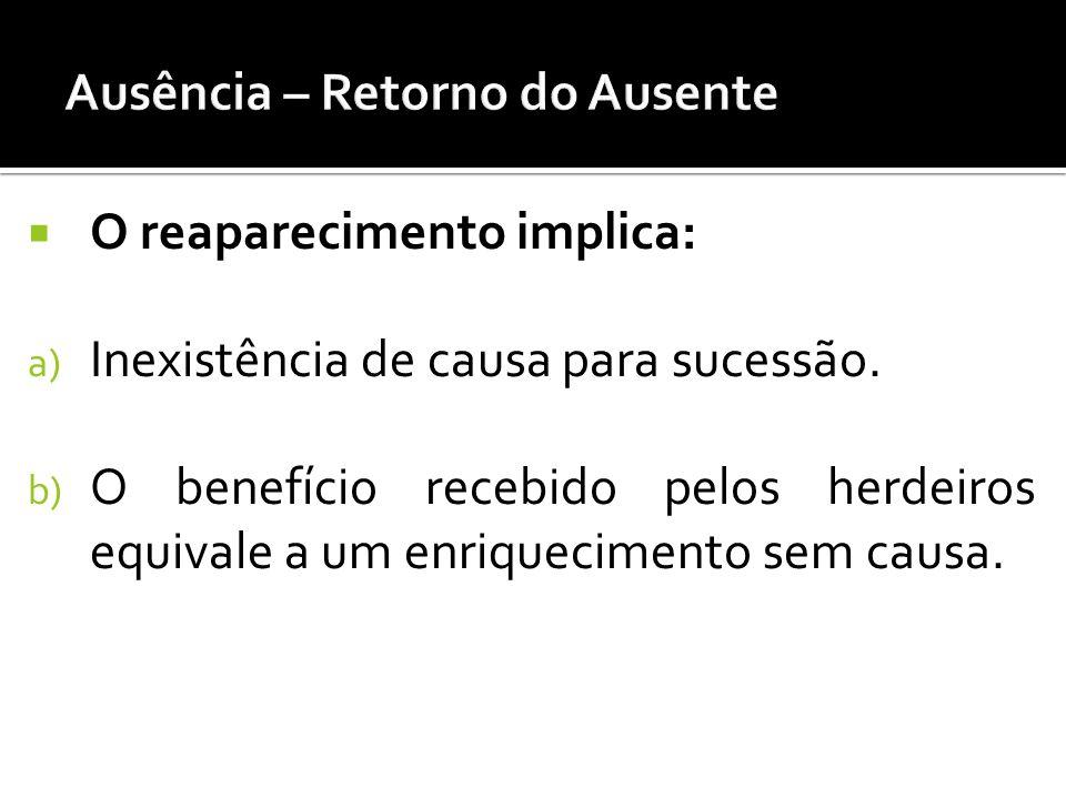 O reaparecimento implica: a) Inexistência de causa para sucessão. b) O benefício recebido pelos herdeiros equivale a um enriquecimento sem causa.