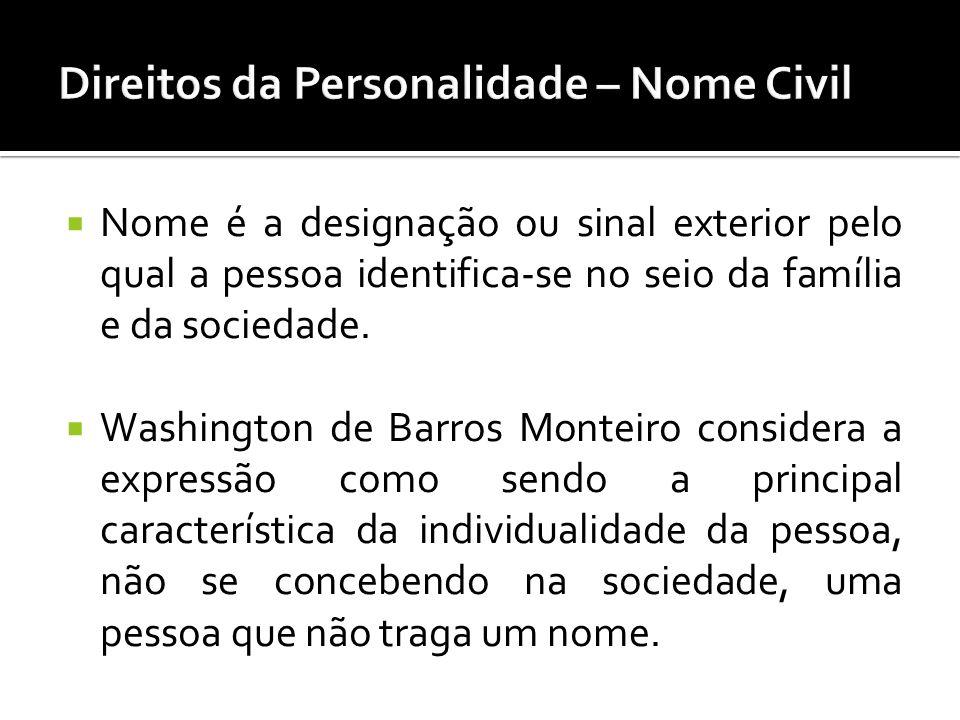 Nome é a designação ou sinal exterior pelo qual a pessoa identifica-se no seio da família e da sociedade. Washington de Barros Monteiro considera a ex