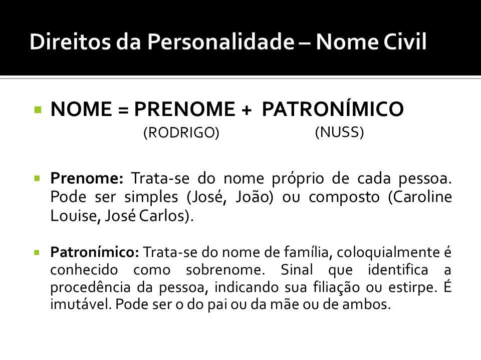 NOME = PRENOME + PATRONÍMICO Prenome: Trata-se do nome próprio de cada pessoa. Pode ser simples (José, João) ou composto (Caroline Louise, José Carlos