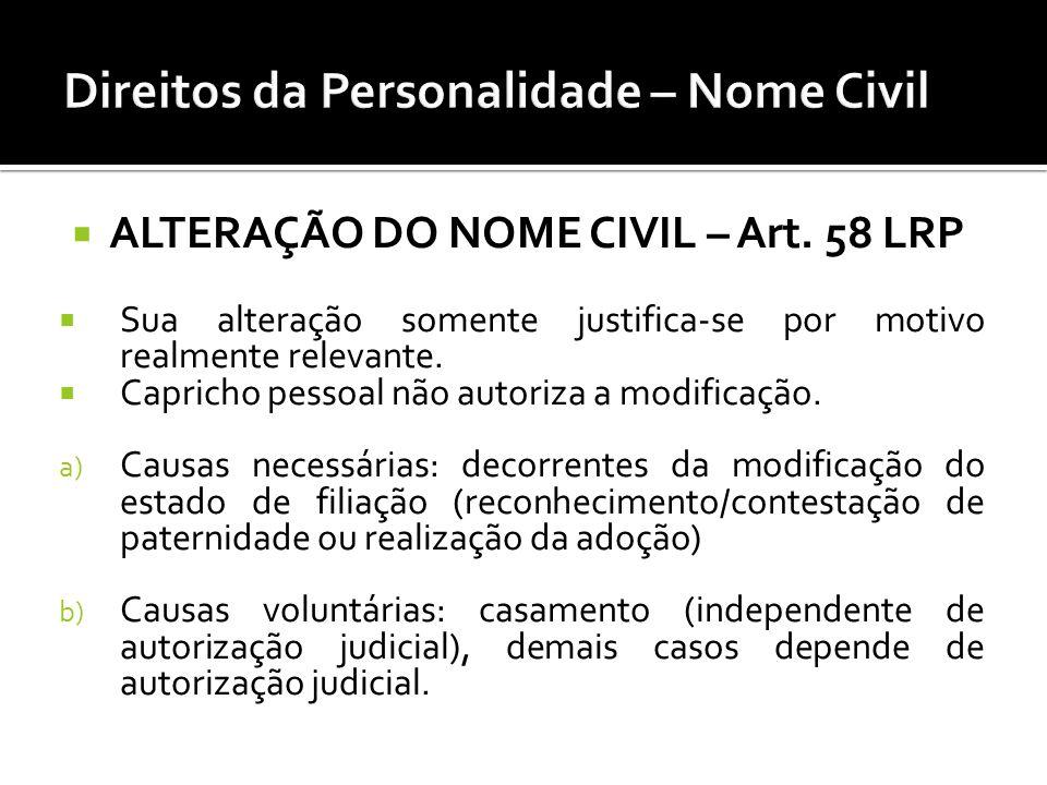 ALTERAÇÃO DO NOME CIVIL – Art. 58 LRP Sua alteração somente justifica-se por motivo realmente relevante. Capricho pessoal não autoriza a modificação.