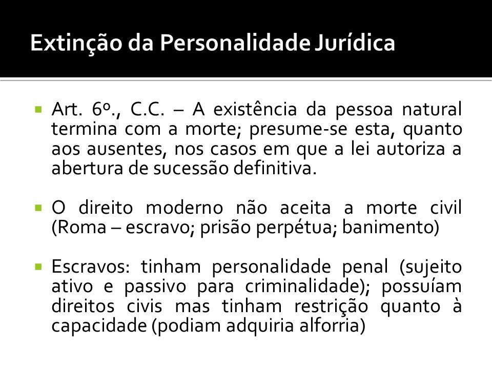 Art. 6º., C.C. – A existência da pessoa natural termina com a morte; presume-se esta, quanto aos ausentes, nos casos em que a lei autoriza a abertura