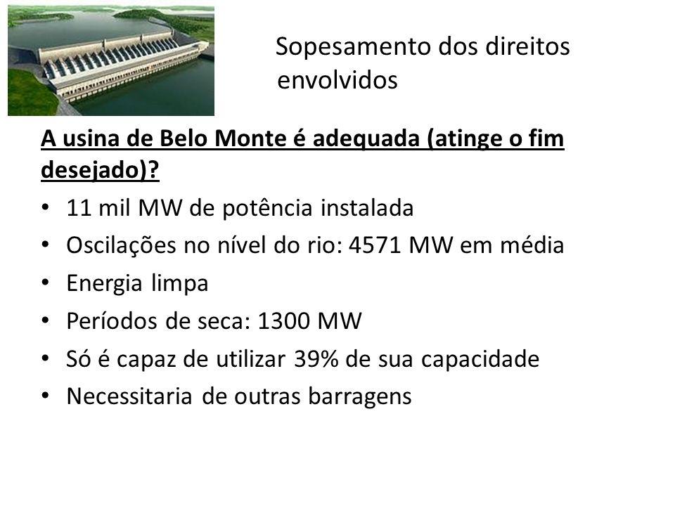 Sopesamento dos direitos envolvidos A usina de Belo Monte é adequada (atinge o fim desejado)? 11 mil MW de potência instalada Oscilações no nível do r