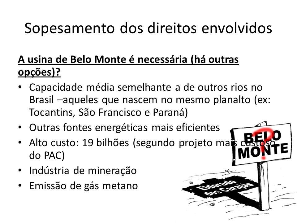 Sopesamento dos direitos envolvidos A usina de Belo Monte é necessária (há outras opções)? Capacidade média semelhante a de outros rios no Brasil –aqu