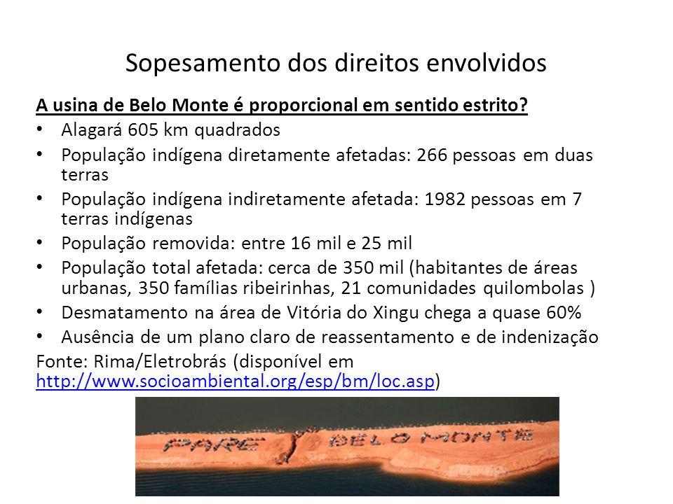 Sopesamento dos direitos envolvidos A usina de Belo Monte é proporcional em sentido estrito? Alagará 605 km quadrados População indígena diretamente a