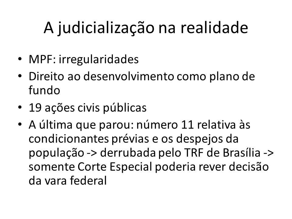 A judicialização na realidade MPF: irregularidades Direito ao desenvolvimento como plano de fundo 19 ações civis públicas A última que parou: número 1
