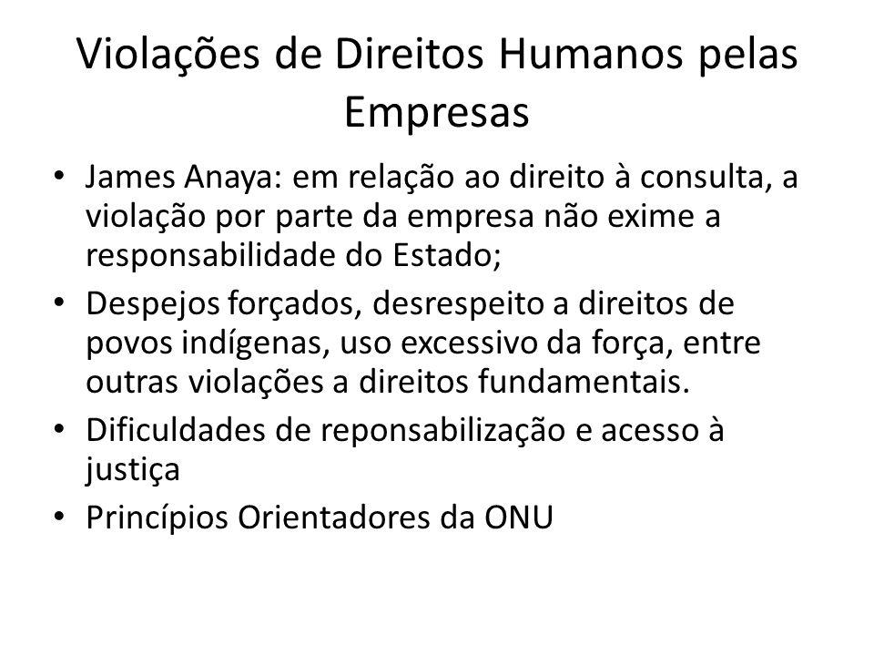Violações de Direitos Humanos pelas Empresas James Anaya: em relação ao direito à consulta, a violação por parte da empresa não exime a responsabilida