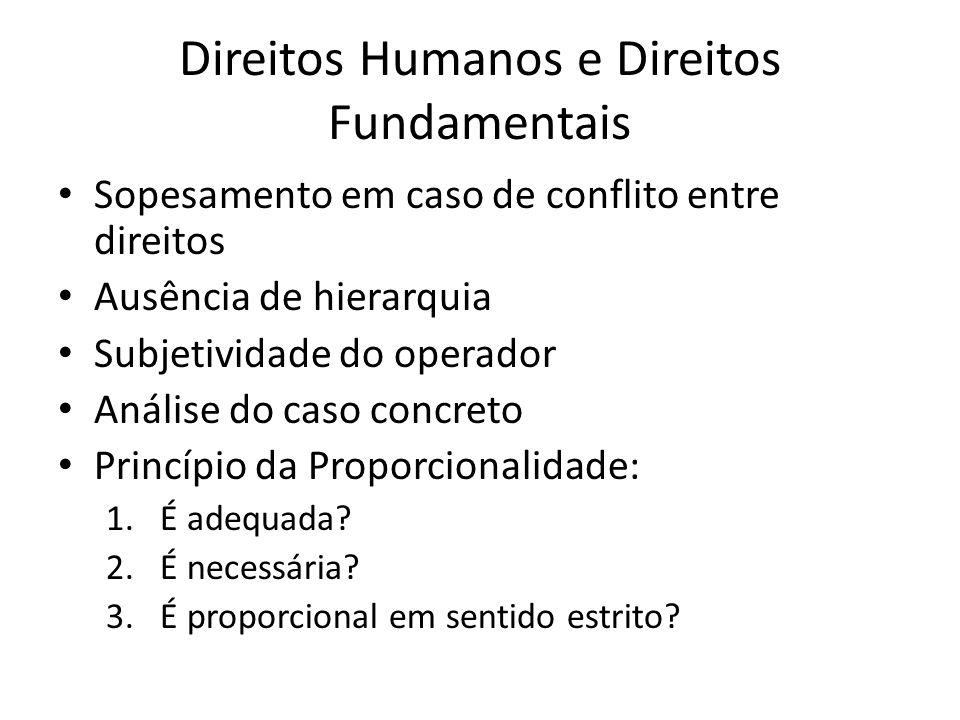 Direitos Humanos e Direitos Fundamentais Sopesamento em caso de conflito entre direitos Ausência de hierarquia Subjetividade do operador Análise do ca