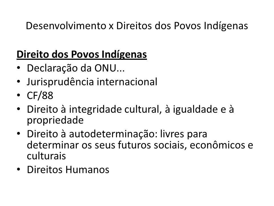 Desenvolvimento x Direitos dos Povos Indígenas: Belo Monte Argumentos do Estado: assegurar o desenvolvimento 1.Garantir a futura expansão do país 2.Evitar novos apagões: suprirá a demanda de cerca de 20 milhões de pessoas 3.Preço competitivo da energia: garantida no licenciamento 4.Gerará 18 mil empregos diretos e 23 mil empregos indiretos 5.Possui condicionantes prévias